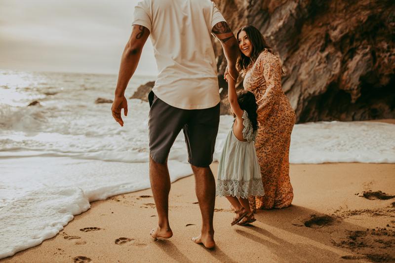 Maternity Photography, family of three at beach