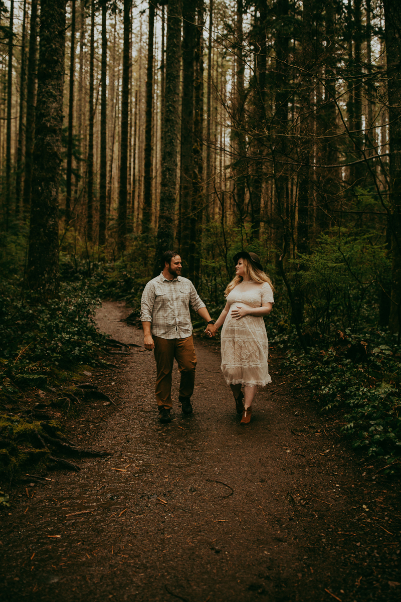 Maternity Photography, couple walking through the woods