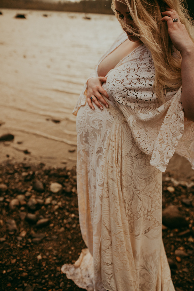 Maternity Photography, pregnant woman in long white dress