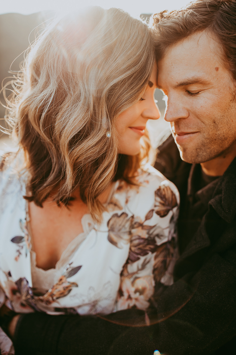 Maternity Photography, close up of couple resting their foreheads together