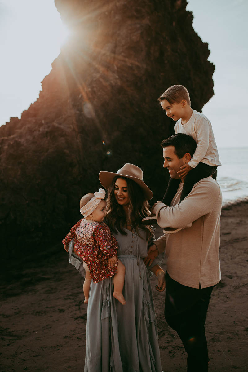 Family Photography, family of 4 at the beach