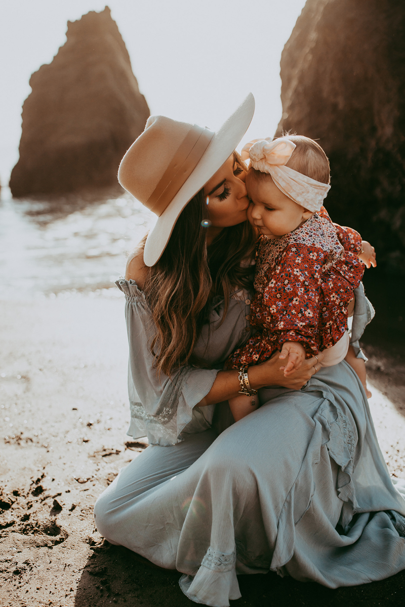 Family Photography, mother kissing baby daughter on cheek