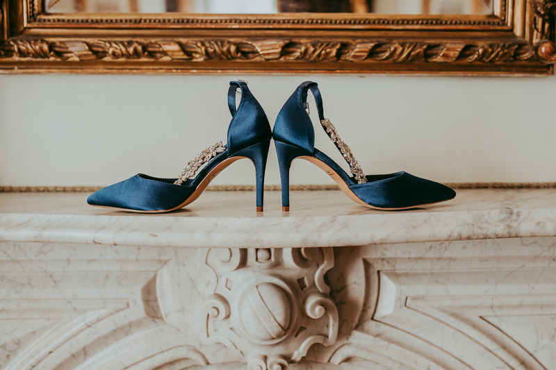 Elopement Photography, blue bridal shoes