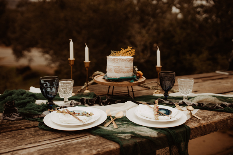 Elopement Photography, bride and grooms place settings