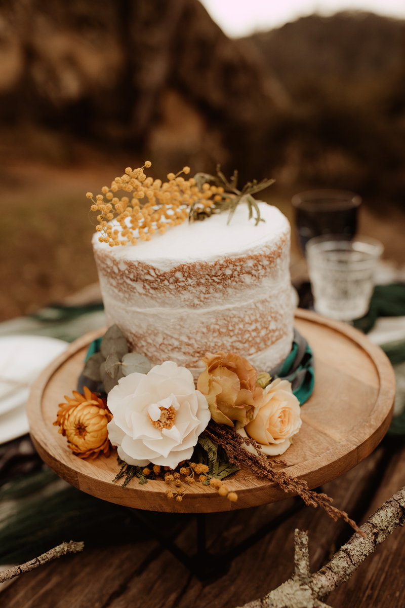 Elopement Photography, wedding cake on wooden cake stand