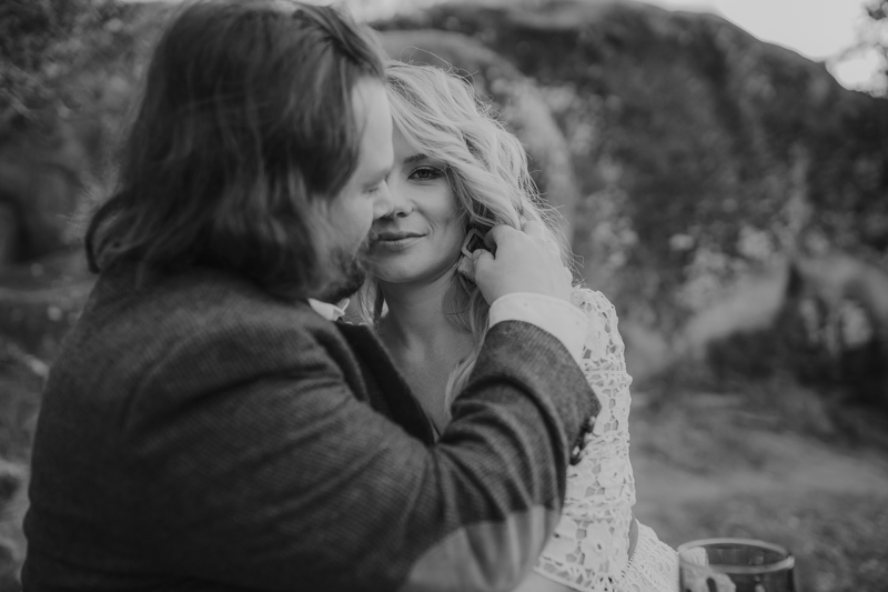 Elopement Photography, black and white of bride looking passed her groom
