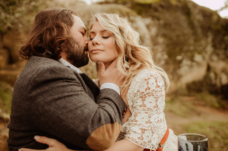 Elopement Photography, groom kissing bride's cheek