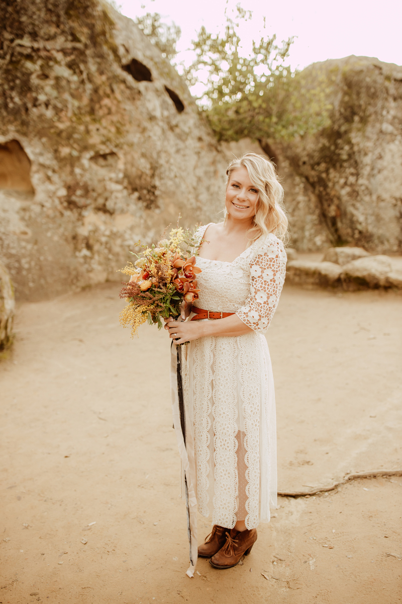 Elopement Photography, bride standing and smiling at camera
