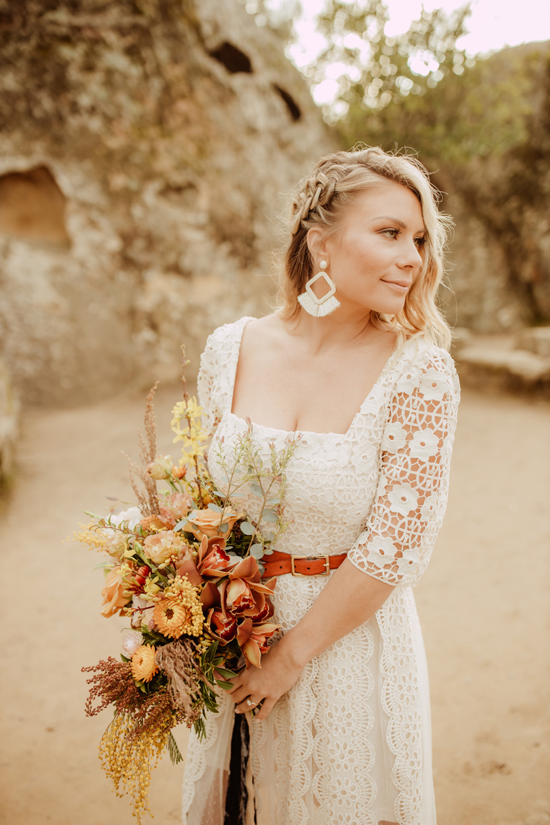 Elopement Photography, bride looking to the side