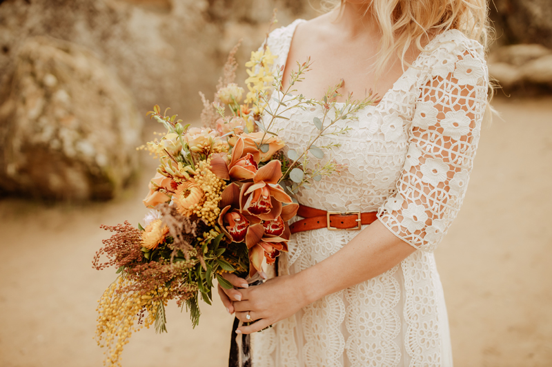 Elopement Photography, close up of bride with her bouquet