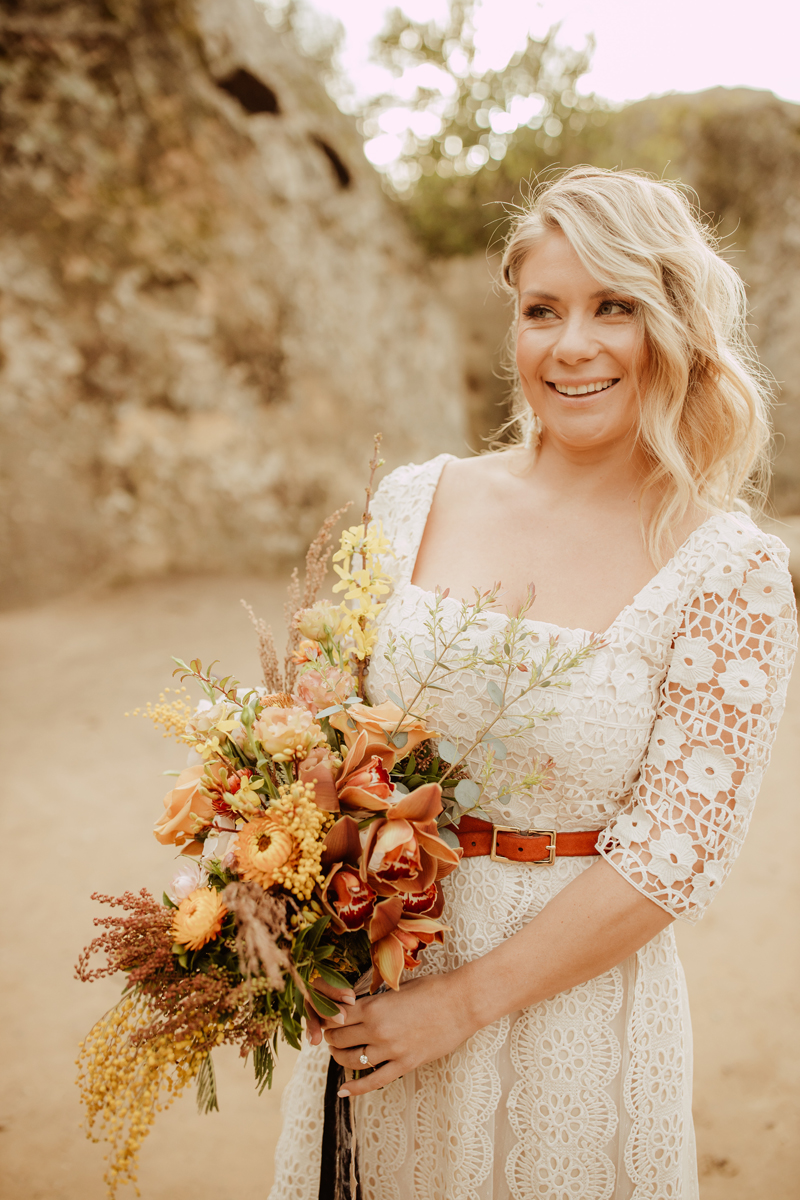 Elopement Photography, bride smiling at groom off picture