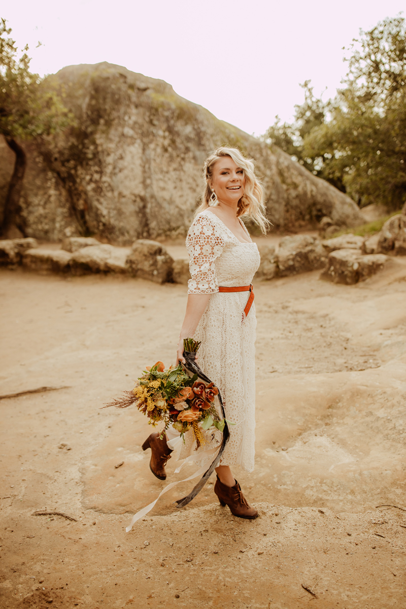 Elopement Photography, bride smiling at the camera