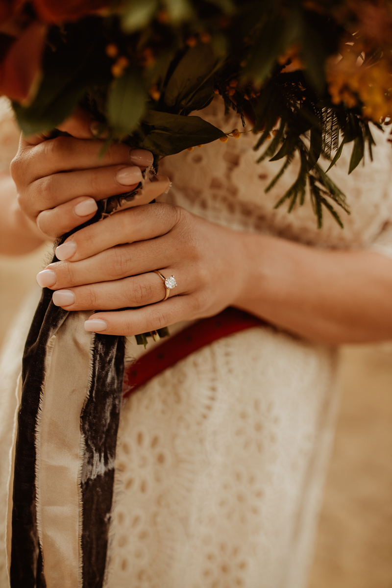 Elopement Photography, detail shot of bride's hand and wedding ring