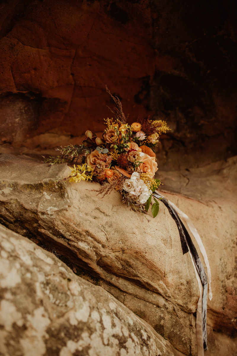 Elopement Photography, wide angle shot of bouquet