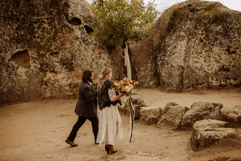 Elopement Photography, bride and groom walking together
