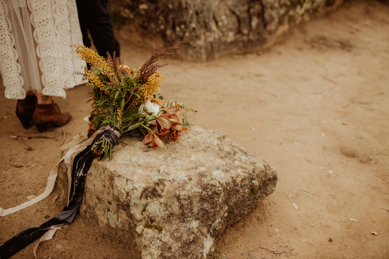 Elopement Photography, bridal bouquet sitting on a rock