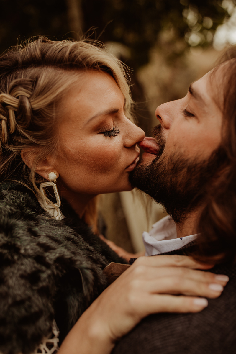 Elopement Photography, groom sticking his tongue out at bride