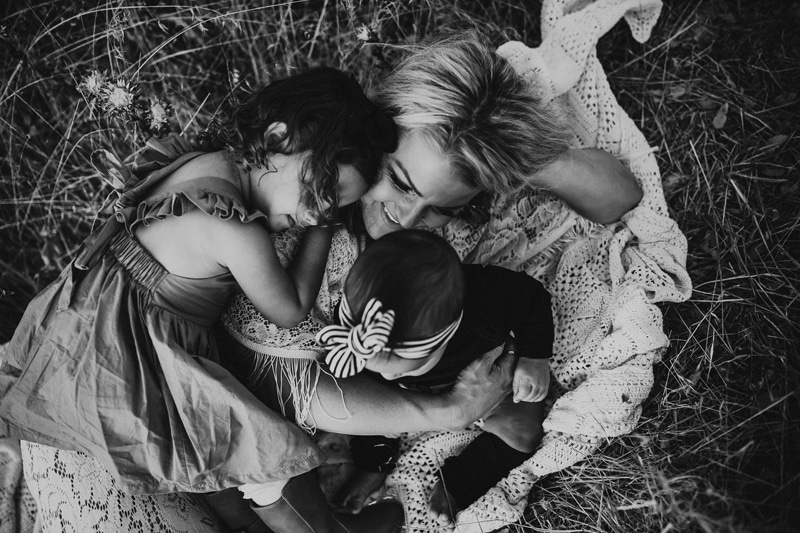 Motherhood Photography, black and white image of mother with two little girls