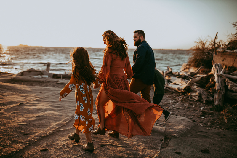 Family Photography, family of 4 walking together on the beach