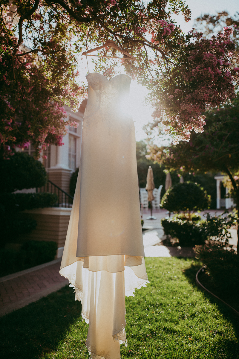 Elopement Photography, bridal gown hanging from tree