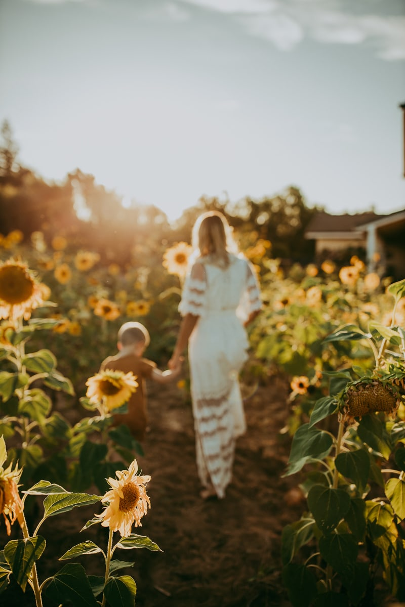 Motherhood Photography, mother and son walking through a sunflower field