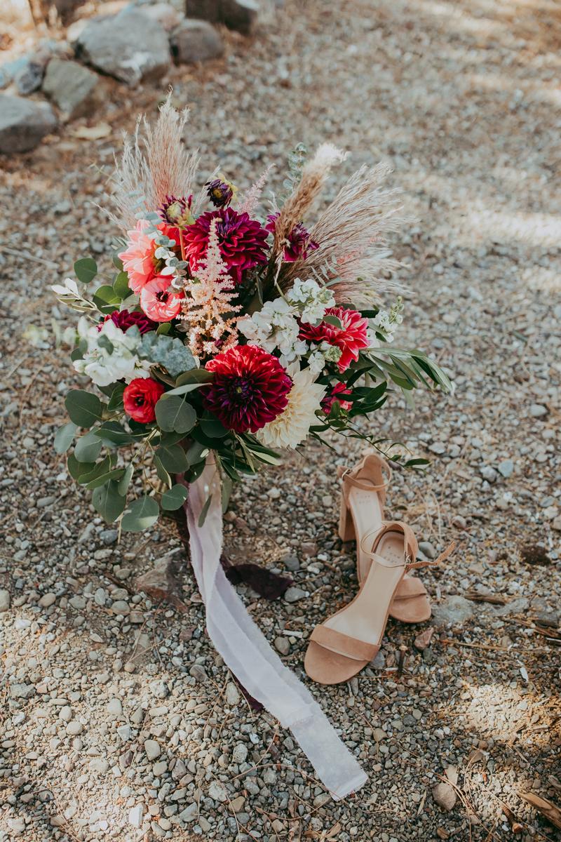 Elopement Photography, bouquet and bride's shoes