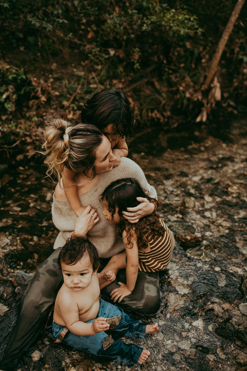 Motherhood Photography, mother sitting with her three children around her