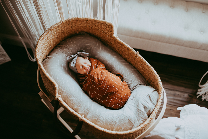 Newborn Photography, baby asleep in bassinet